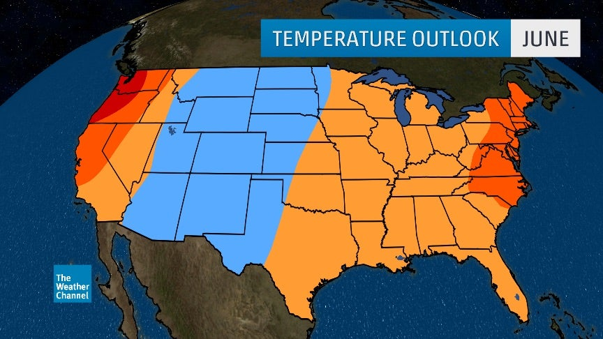 June 2017 Temperature Outlook: Warmer West Coast and East; Cooler in ...