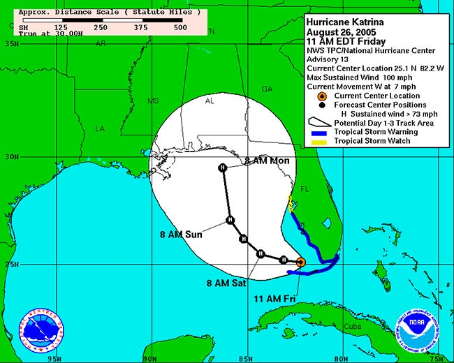 hurricane katrina the day the forecast shifted the weather channel