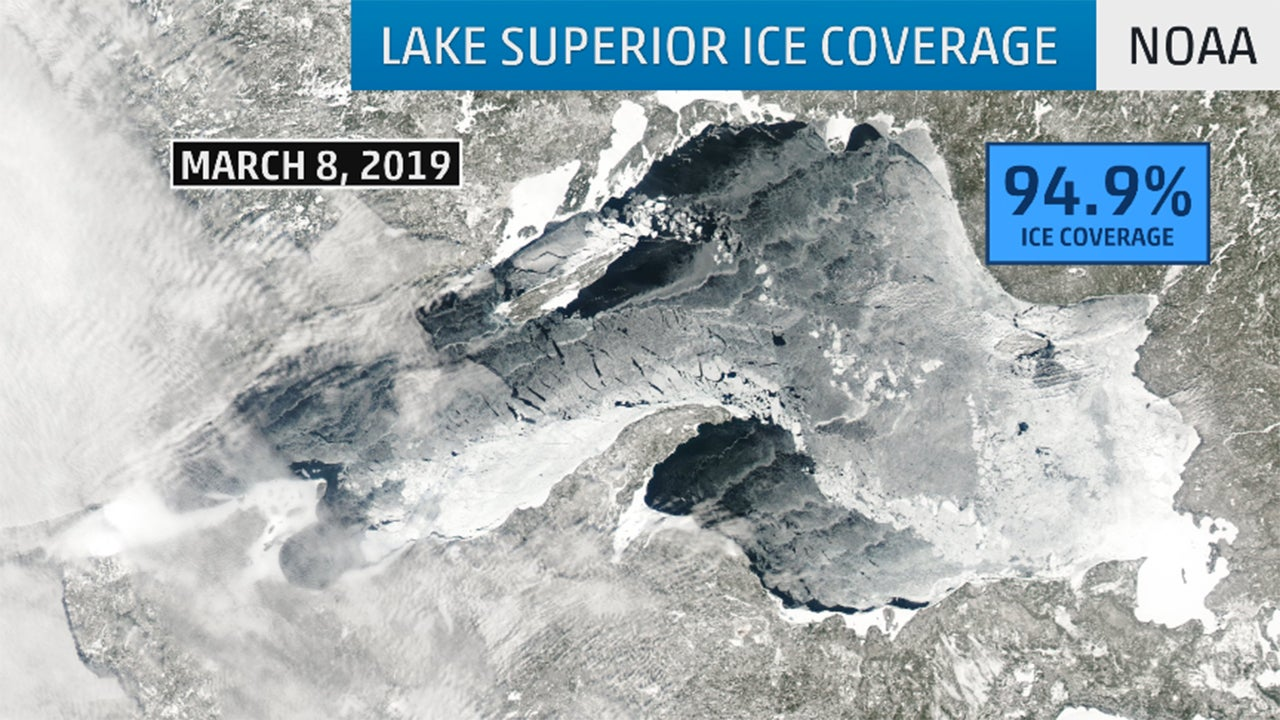lake superior ice coverage neared 100 percent after frigid