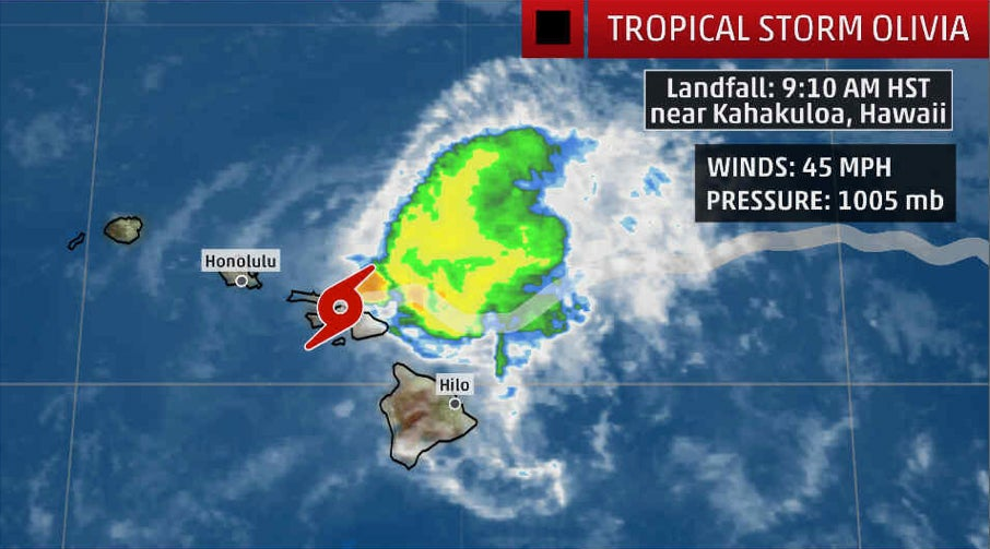 tropical storm olivia pushes through hawaii with heavy