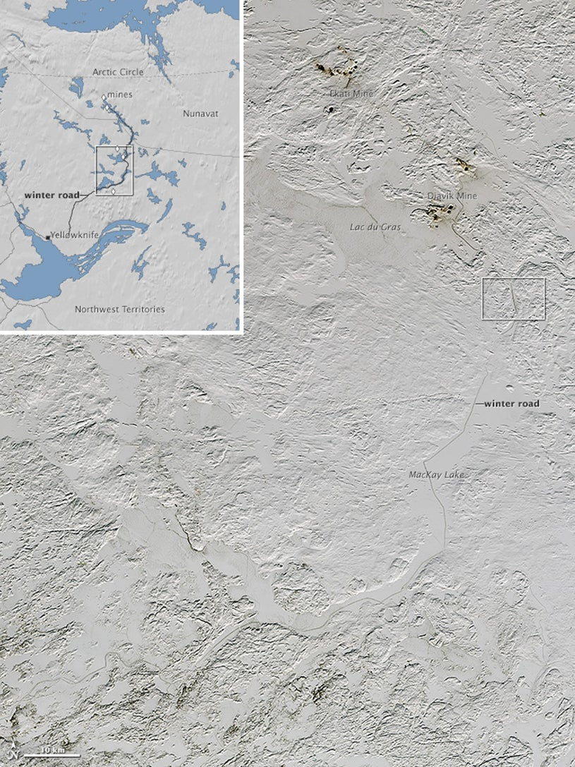 Satellite Image Reveals Ice Road Trucking Lanes in Canada ... on ice road nwt map, yellowknife nwt map, yellowknife and hay river, yellowknife alaska, yellowknife northwest territories map,