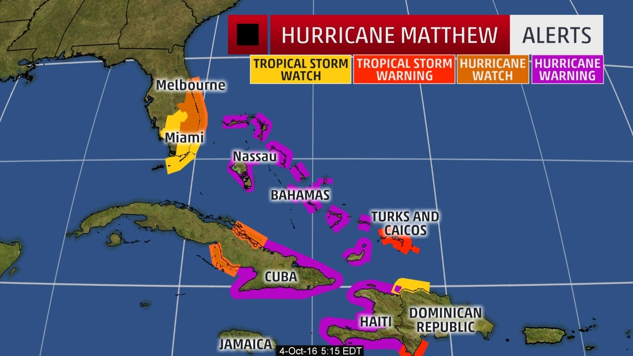 hurricane watch expanded in florida as hurricane matthew