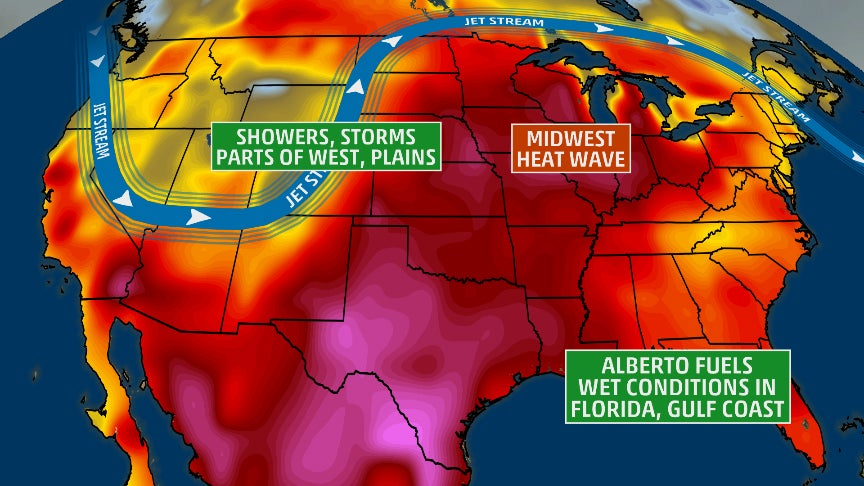 Memorial Day Forecast: Rain, Thunderstorms in Southeast, West and Plains With Hot, Dry Weather in the Midwest