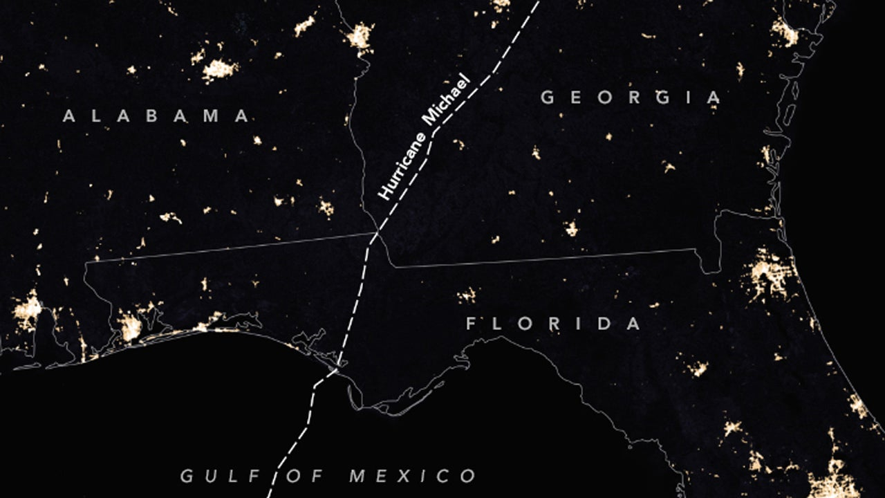Hurricane Michael's Staggering Power Loss Documented by NASA