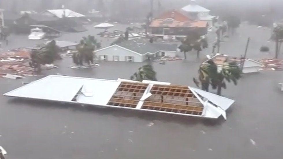 Hurricane Michaels Storm Surge Covers Mexico Beach Florida The
