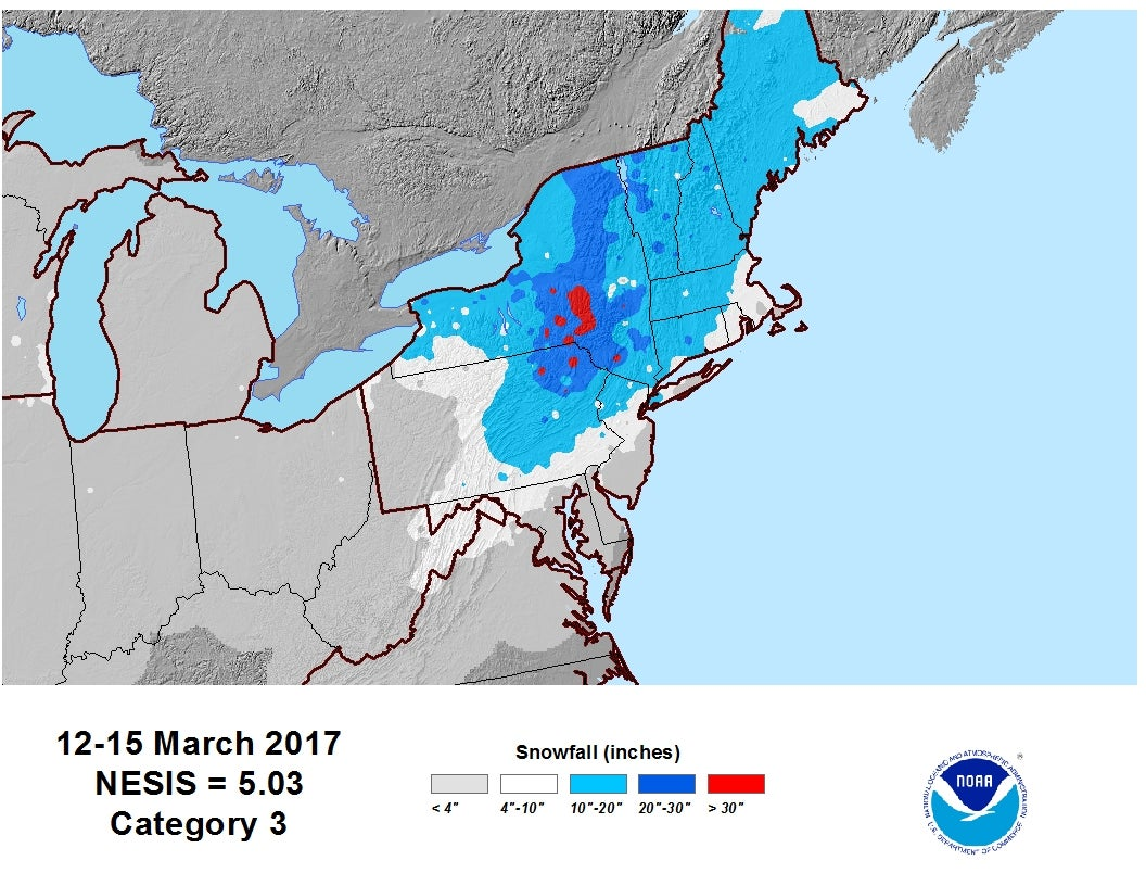 Winter Storm Stella Was A Category  On Northeast Snowfall Impact - Us weather map snow forecast