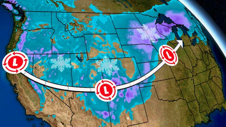 Major Storm to Spread Snow and Wind From West to Plains, Upper Midwest and New England Christmas Week