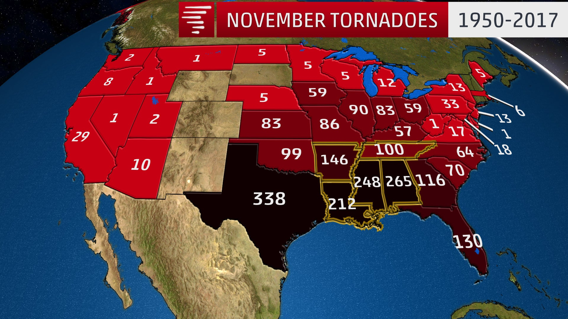 Where November Tornadoes Are Most Common and the 5 Largest ...