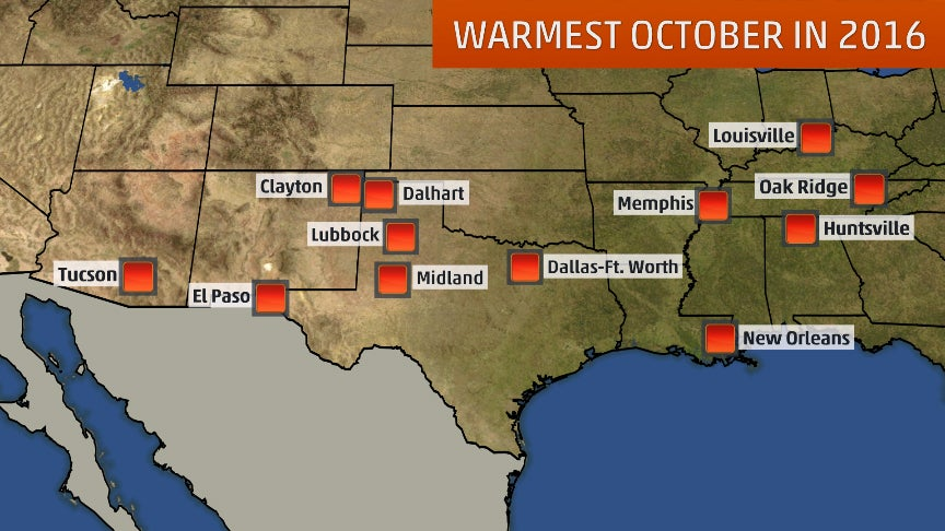extreme october  dozens of u s  cities have seen their hottest  driest or wettest october in