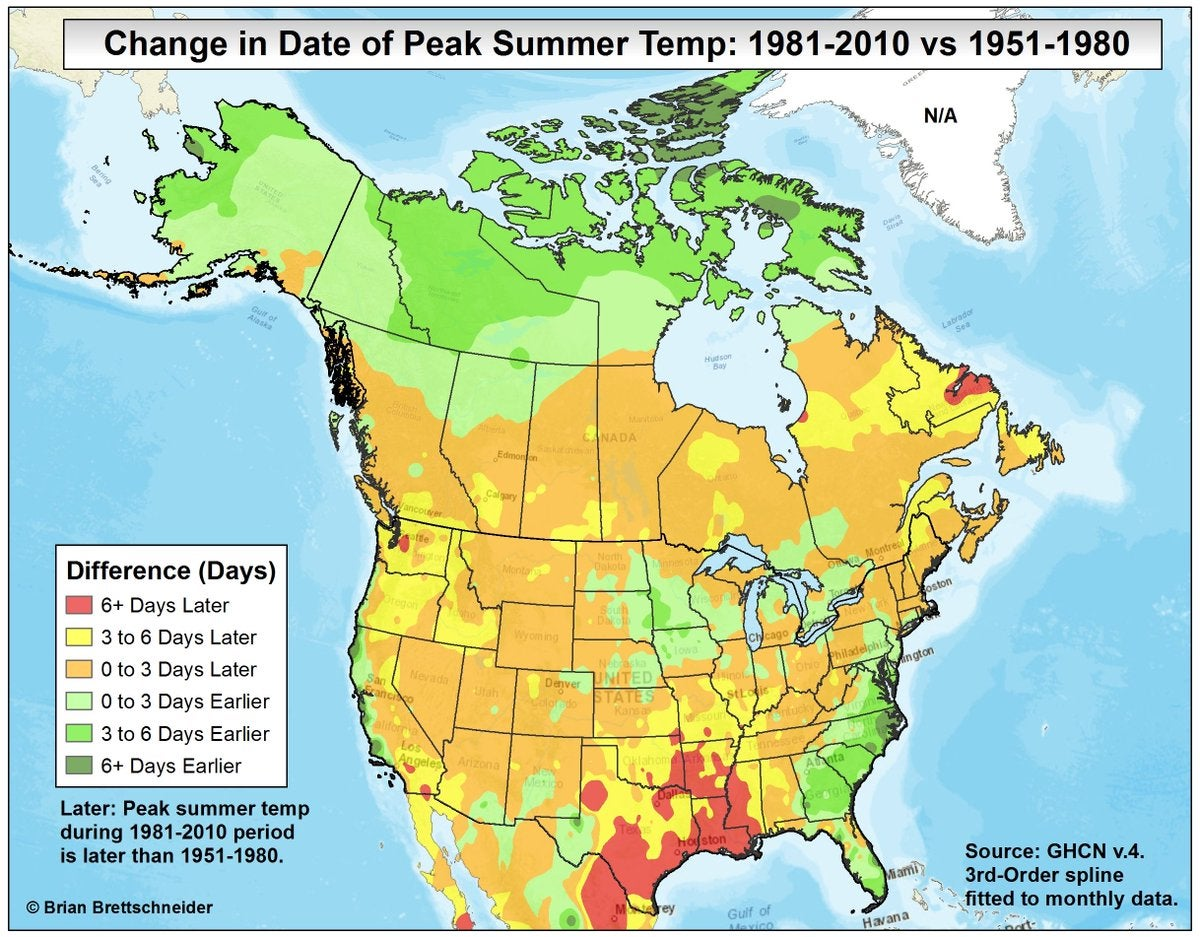 Bad News For Fall Lovers Peak Summer Temperatures Coming Later In - Us summer temperature map