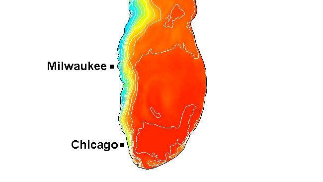 lake michigan water temperature map Water Temperature Drops 20 Degrees In 24 Hours Along Western Shore lake michigan water temperature map