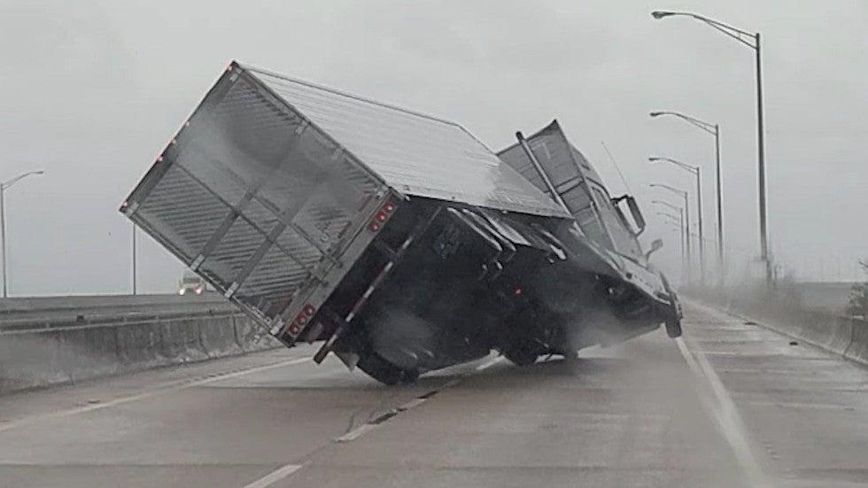 Sally's Winds Overturn Semi-Truck in Mobile Bay, Alabama