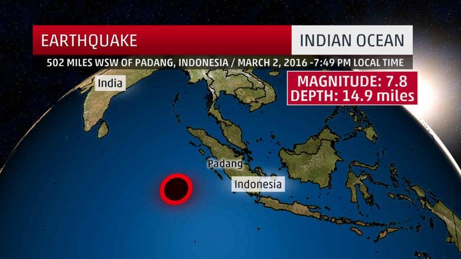 7.8 Magnitude Earthquake Reported near Sumatra