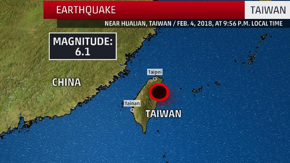 Taiwan's Coast Rattled by 6.1-Magnitude Earthquake