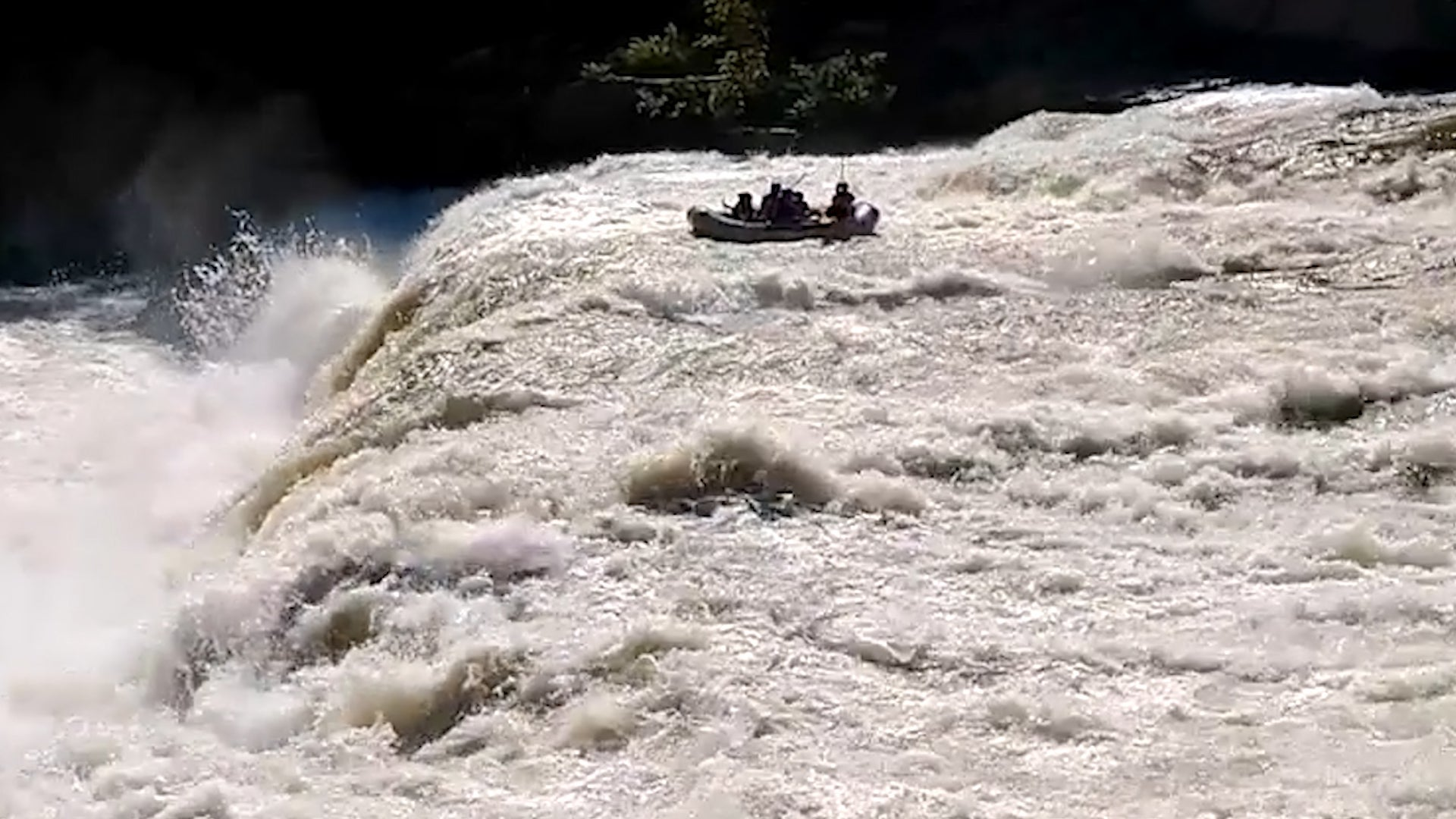 Rafters at Ohiopyle State Park in Pennsylvania are rescued after missing warning signs and plunging over a waterfall.