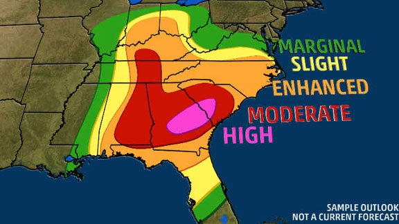 What the Storm Prediction Center's Thunderstorm Outlook Means