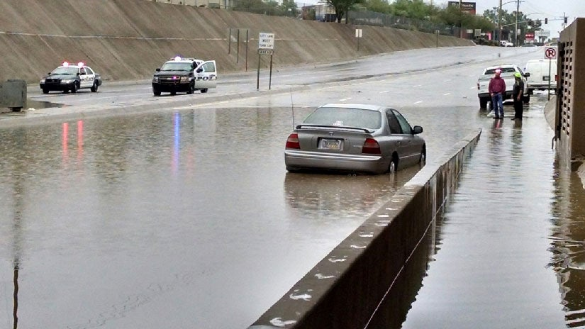 flooding rains leave tucson  arizona  streets underwater