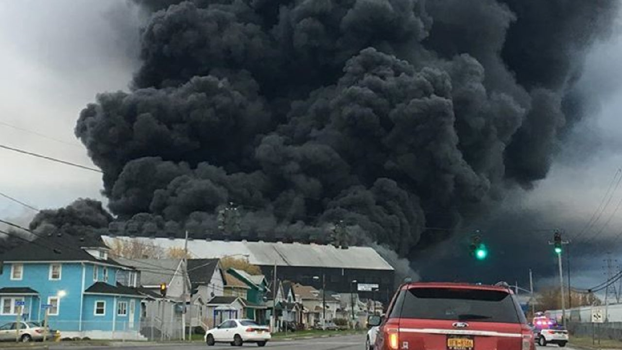 residents evacuate after fire at former bethlehem steel site in lackawanna  new york
