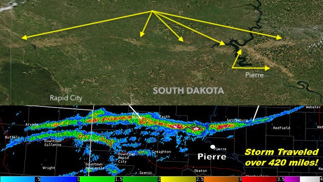 south dakota hail scars seen from space days after