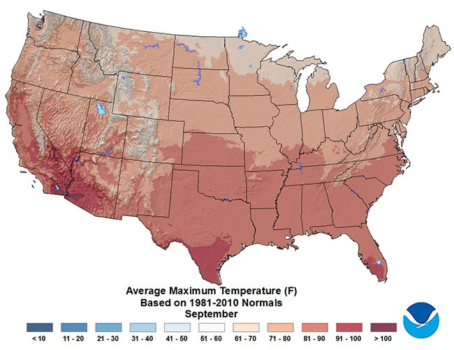 July Average High Temperatures USA Weather Maps Pinterest Weather - Us low temperature map