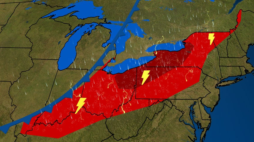Severe Storms Will Sweep Into the Interior Northeast on Friday With the Threat of Damaging Winds and Tornadoes