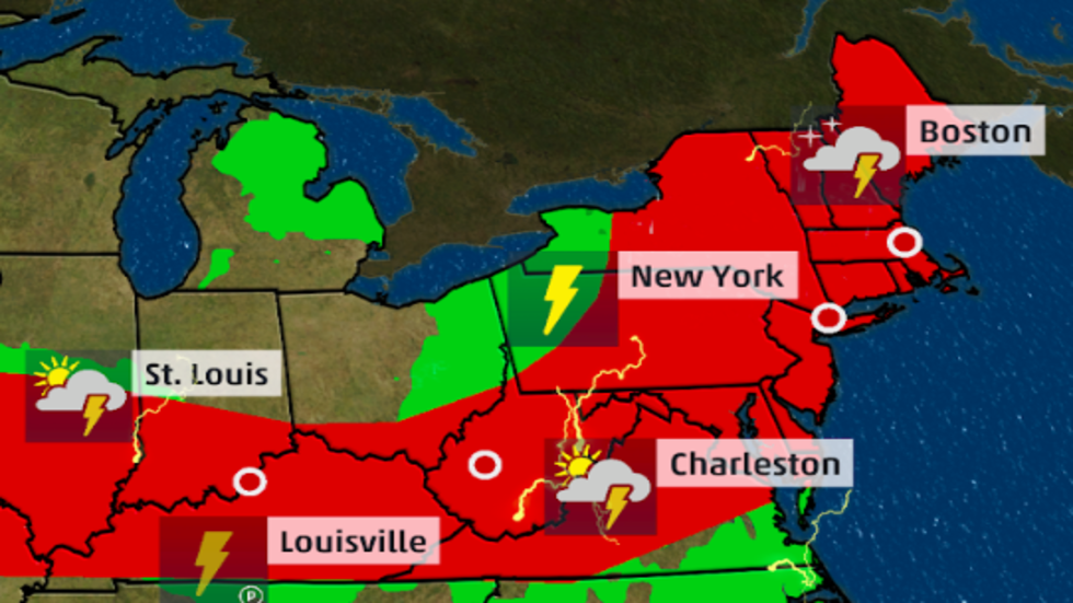 Severe Thunderstorms With Damaging Winds and Hail Possible in the Northeast
