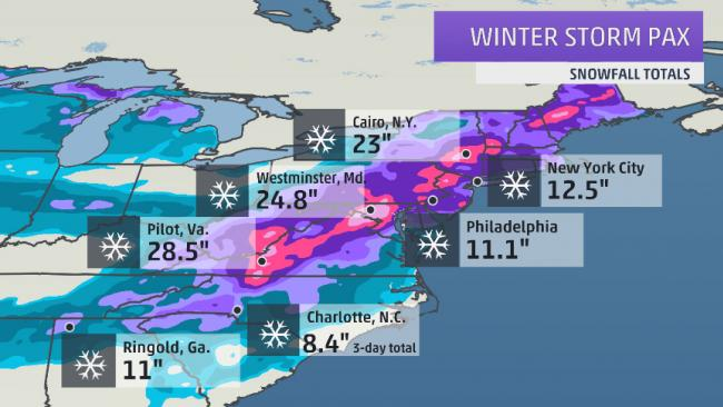 winter storm pax snowfall ice totals the weather channel