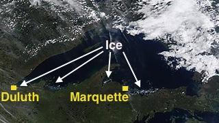 Lake Superior ice satellite image