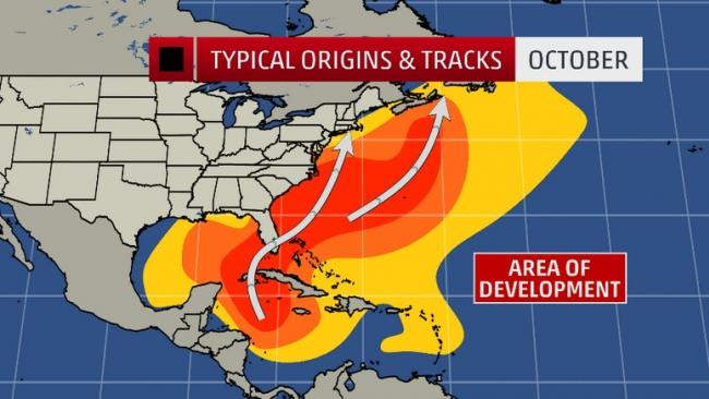 Where the October Hurricane Threat is the Greatest
