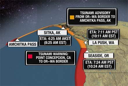 march 2011 tsunami map. Maps: Tsunami Warnings