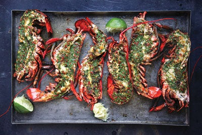 Grilled Lobster with Cilantro-Chili Butter