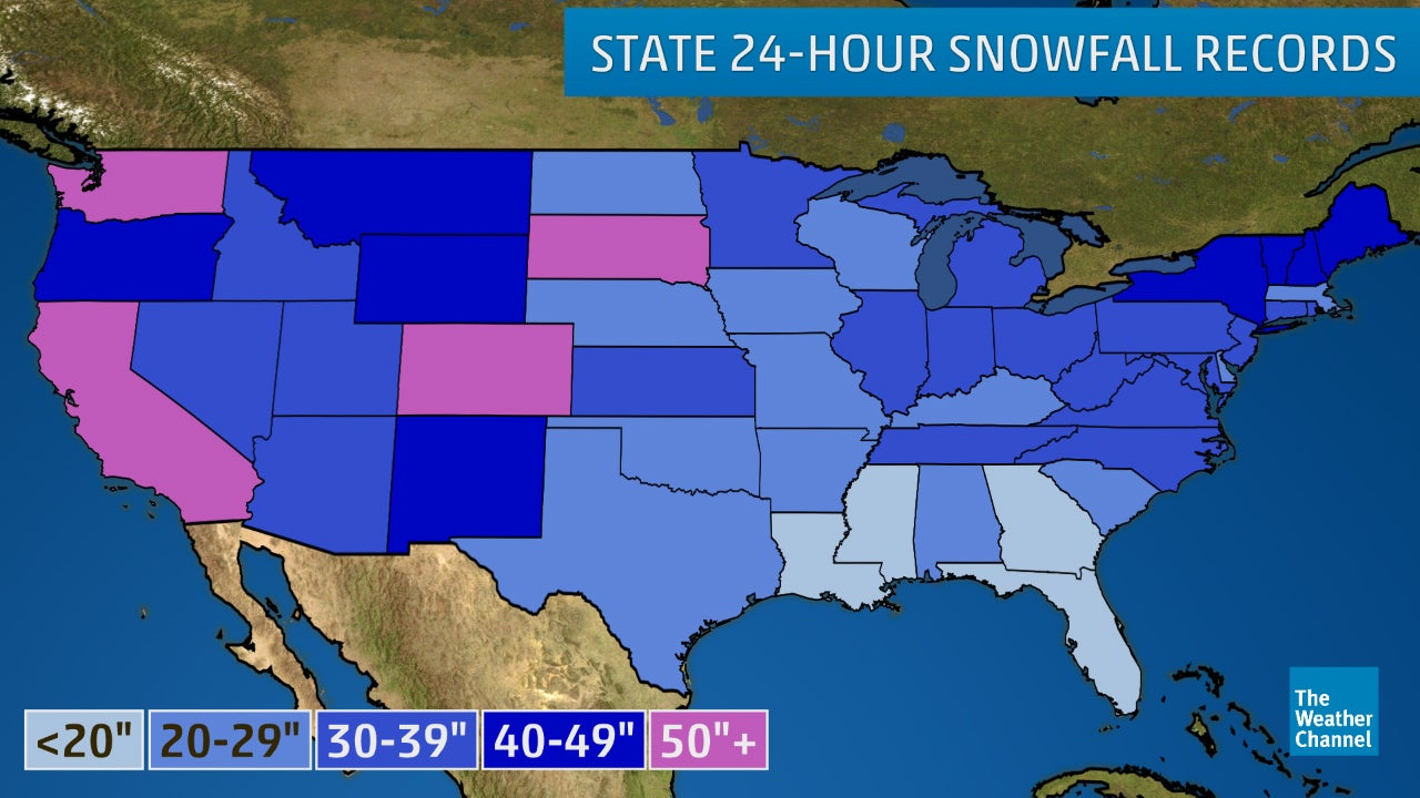 Map Of Gulf Coast Of Florida.The Greatest 24 Hour Snowfalls In All 50 States The Weather Channel