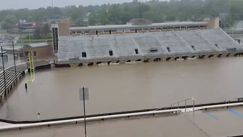 western michigan football stadium floods in kalamazoo  mi