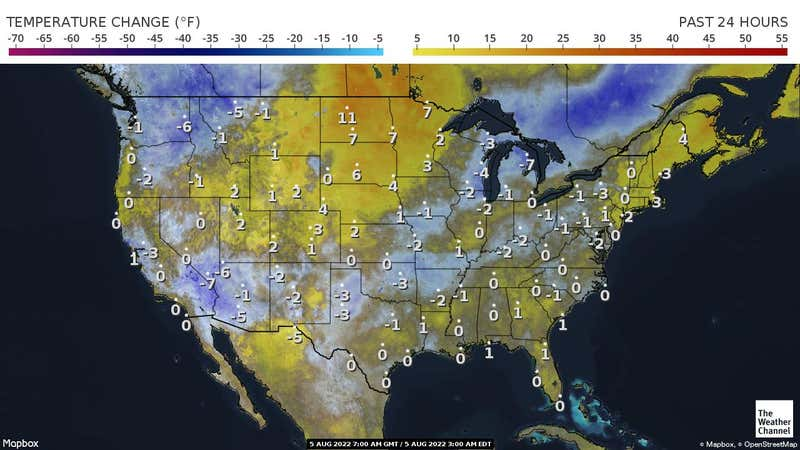 Variation in temperatures across the US in the past 24 hours.