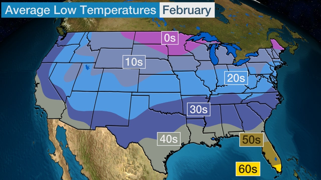 February Temperature Outlook Cold to Persist in Midwest and
