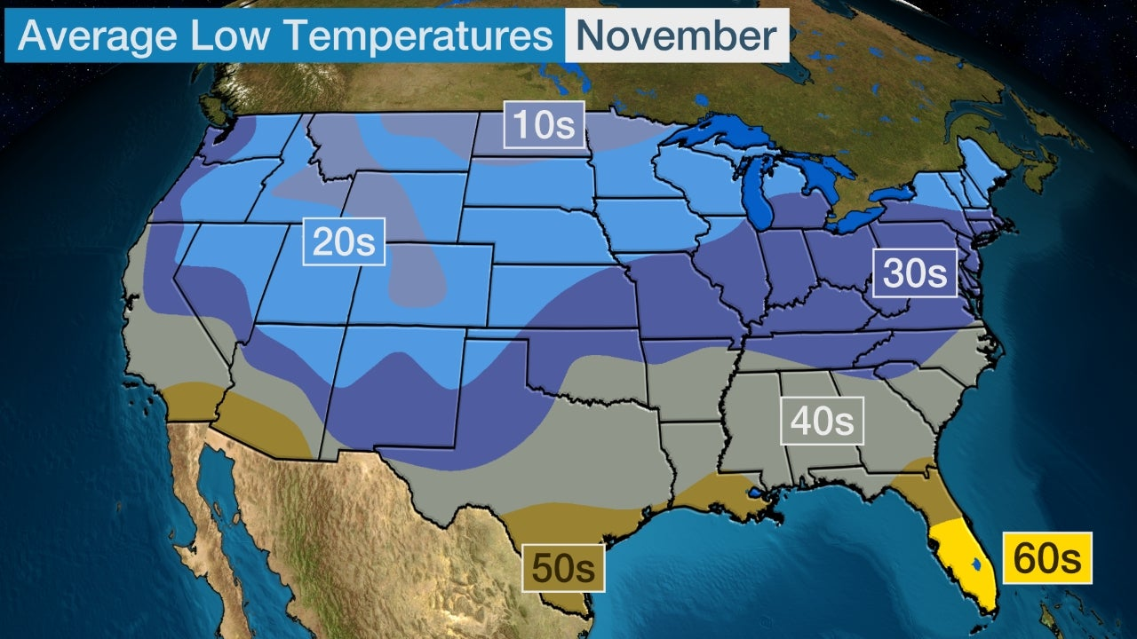 November 2017 Temperature Outlook Colder Than Average in