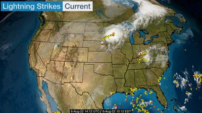 Latest lightning strikes for the contiguous US.