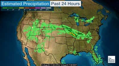 Estimated US precipitation in a 24 hour period.