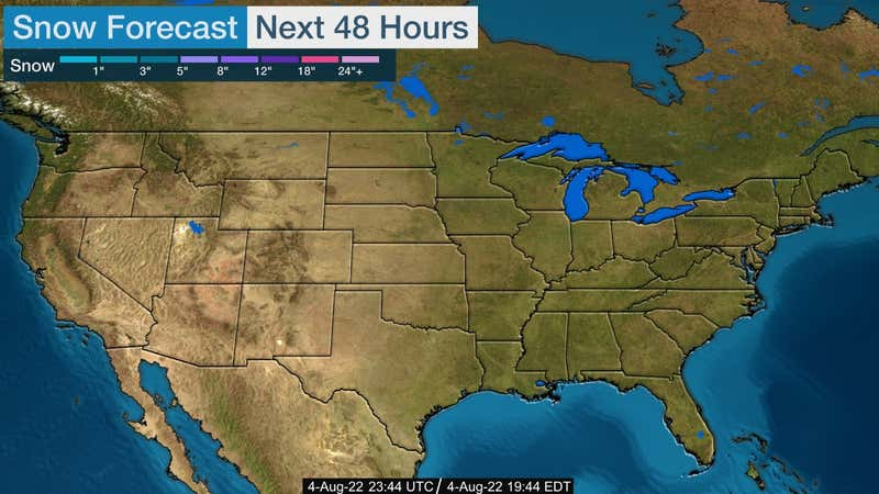 Forecasted snow in the US for the next 24 hours.
