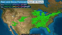 Next 48 hours of precipitation, rain and snow, across the US measured in inches.
