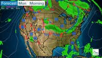 Pressure systems, cold and warm fronts, and rain and snow areas, in the morning.