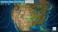 Current storm systems, cold and warm fronts, and rain and snow areas.