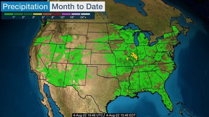 Estimated total precipitation in inches for this month.