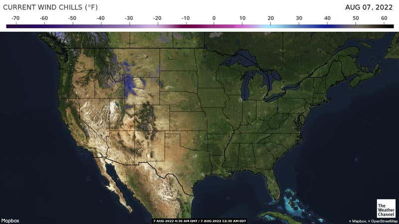 Most recent wind chill temperatures across the US.