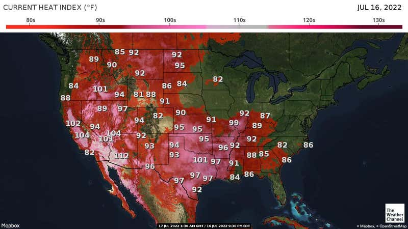 Map depicting current heat index across the US.