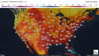 Most recent reported temperatures around the contiguous US.