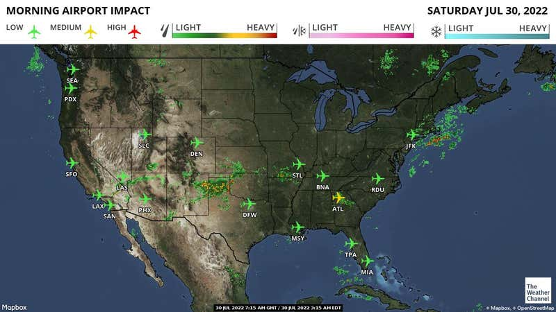 Current possible weather-related delays at airports across the US.