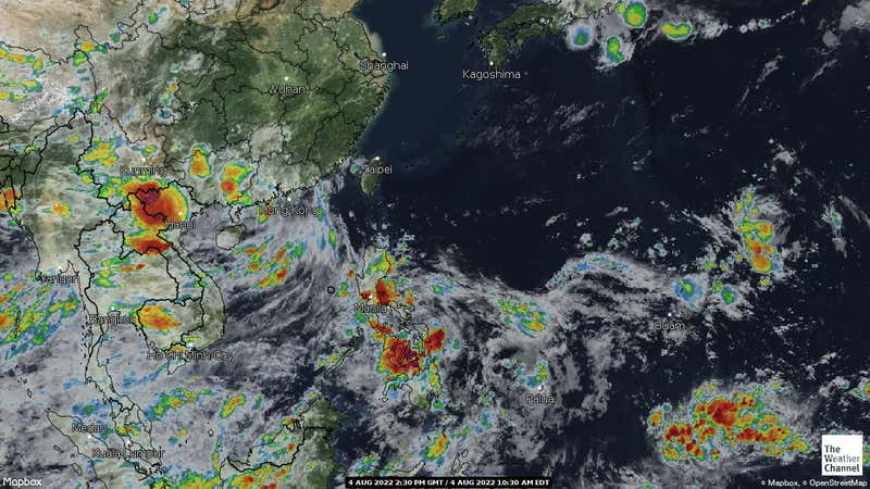 Satellite weather map of countries in Asia.