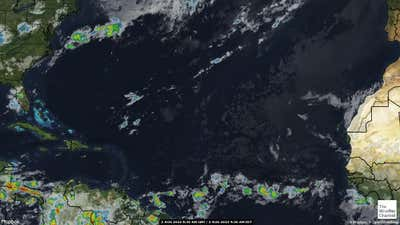 Satellite weather map of the Atlantic Ocean.