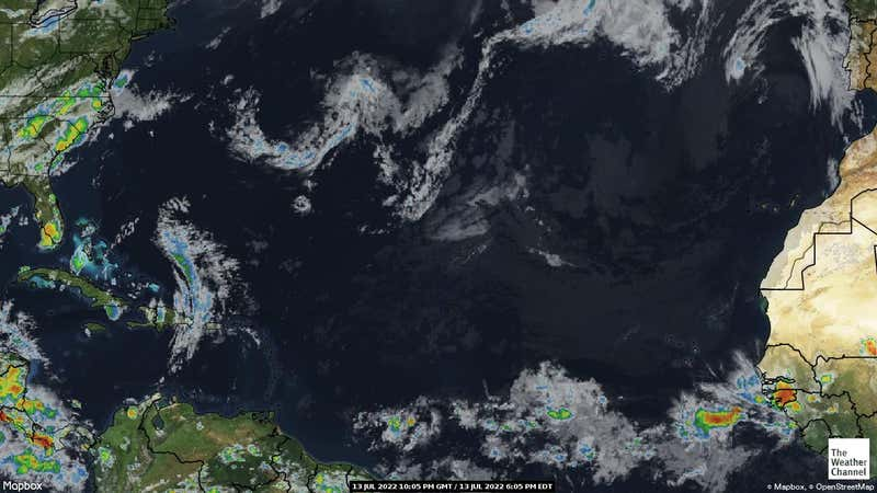 Satellite weather map of the Atlantic Ocean.